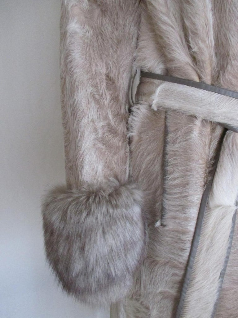 Champagne Pony Fox Fur Coat For Sale 2