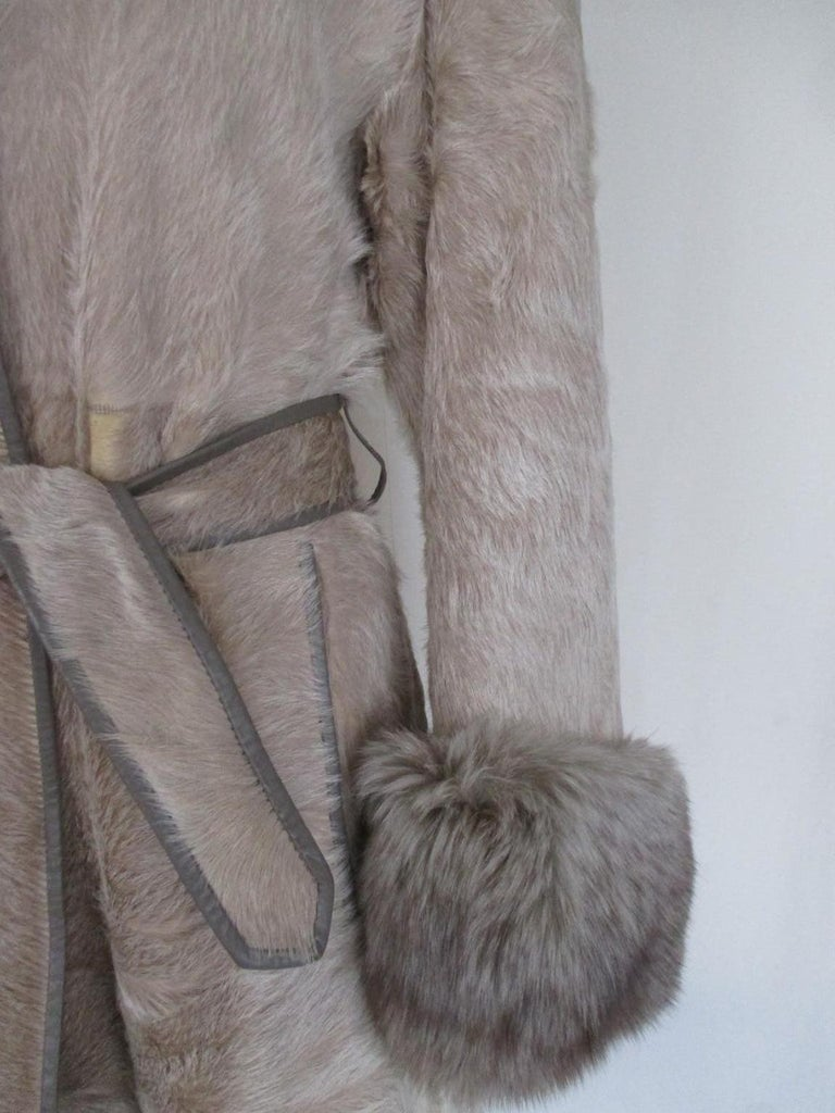Champagne Pony Fox Fur Coat For Sale 3