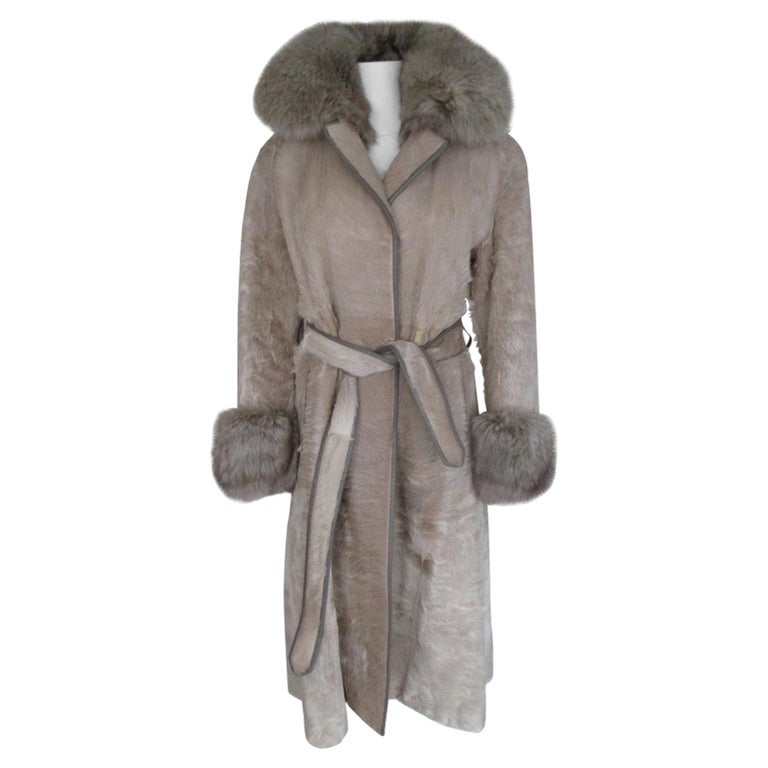 Champagne Pony Fox Fur Coat For Sale