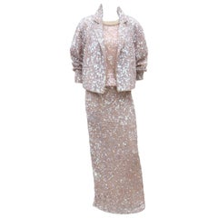 Champagne Sequin & Pearl 3 Piece Ensemble Dress With Jacket, C.1980