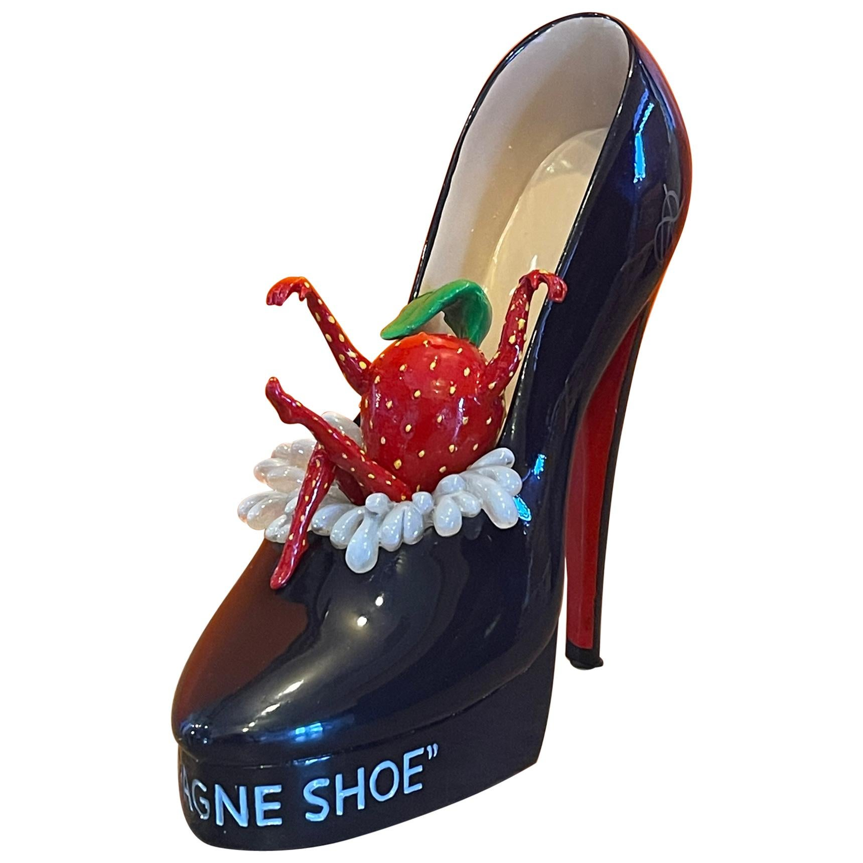 """""""Champagne Shoe"""" Signed Limited Edition Resin Sculpture by Michael Godard"""