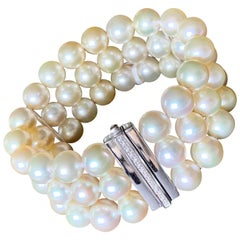 Champagne South Sea Pearl and Diamond 3-Row Bracelet in 18 Karat White Gold