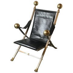 Campaign Lounge Chair Italian in Steel and Brass with Leather