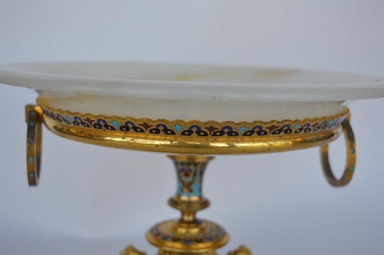 French Champleve Centerpiece Tazza For Sale