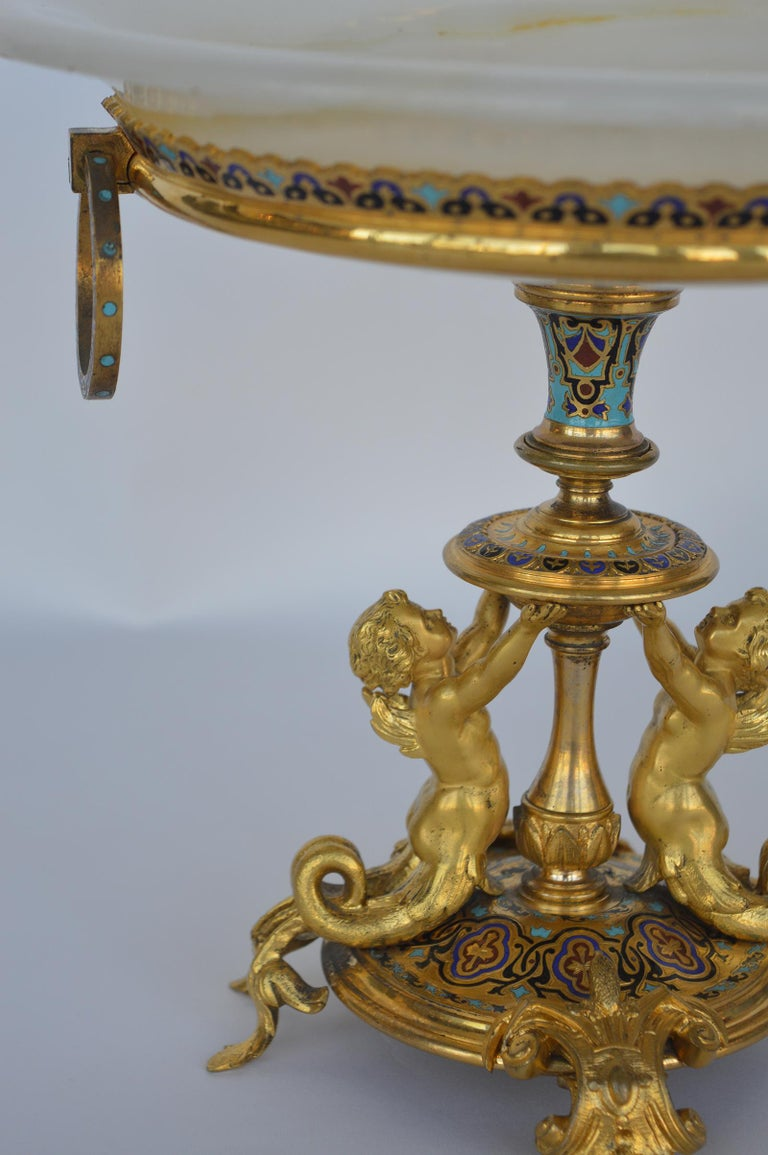 Champleve Centerpiece Tazza In Excellent Condition For Sale In Los Angeles, CA