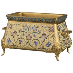 Champlevé Enamel and Gilt Bronze Mounted Jardinière by Barbedienne