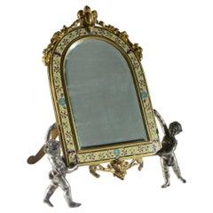 Champlevé Enamel and Gilt Bronze Vanity Mirror Held by Cherubs