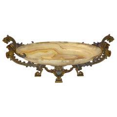 Champleve Enamel Bronze Mounted Onyx Centerpiece Bowl