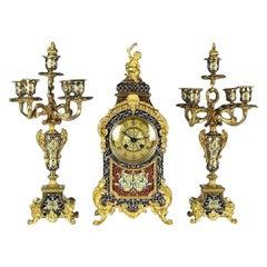 Champleve Enamel Clock Set by Etienne Maxant