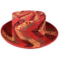 CHAMULA Size 58 Red Black Yellow & Green Pattern Woven Straw Panama Hat
