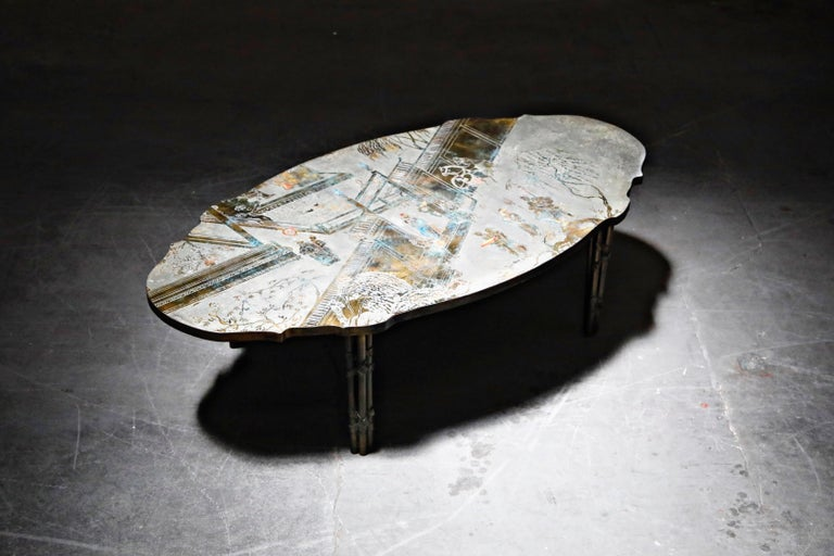 Mid-Century Modern 'Chan Boucher' Bronze Coffee Table by Philip & Kelvin LaVerne, 1960s, Signed For Sale