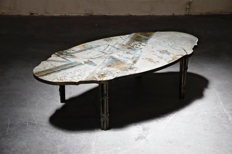 American 'Chan Boucher' Bronze Coffee Table by Philip & Kelvin LaVerne, 1960s, Signed For Sale