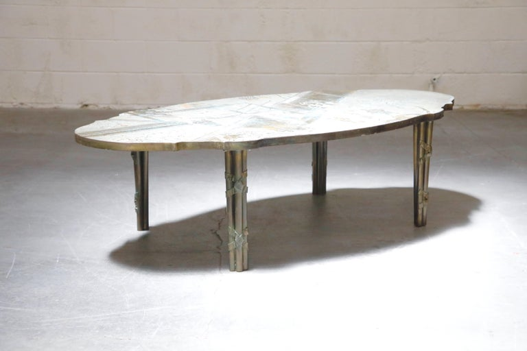 Hand-Carved 'Chan Boucher' Bronze Coffee Table by Philip & Kelvin LaVerne, 1960s, Signed For Sale
