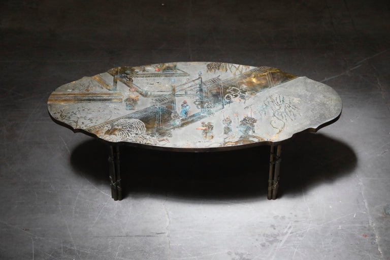 'Chan Boucher' Bronze Coffee Table by Philip & Kelvin LaVerne, 1960s, Signed In Excellent Condition For Sale In Los Angeles, CA