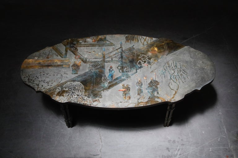 Mid-20th Century 'Chan Boucher' Bronze Coffee Table by Philip & Kelvin LaVerne, 1960s, Signed For Sale