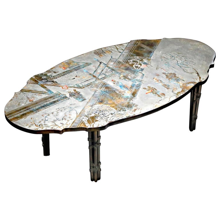 'Chan Boucher' Bronze Coffee Table by Philip & Kelvin LaVerne, 1960s, Signed For Sale