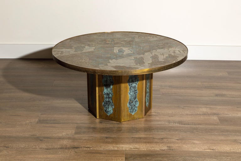 This classic and highly sought-after collectors item is a 'Chan' cocktail table by father and son team, Philip and Kelvin LaVerne, handmade in the 1960s. Ingeniously designed with acid etching and patinated polychrome bronze and pewter, this