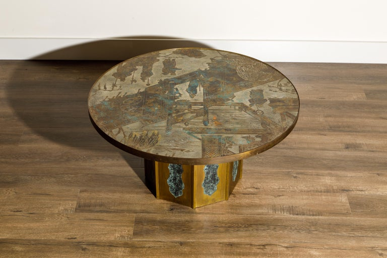 American 'Chan' Bronze Cocktail Table by Philip & Kelvin LaVerne, 1960s, Double Signed For Sale
