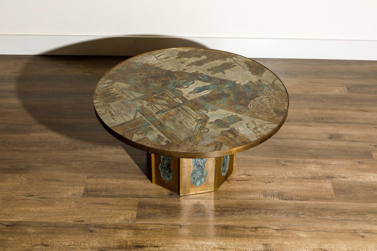 Etched 'Chan' Bronze Cocktail Table by Philip & Kelvin LaVerne, 1960s, Double Signed For Sale