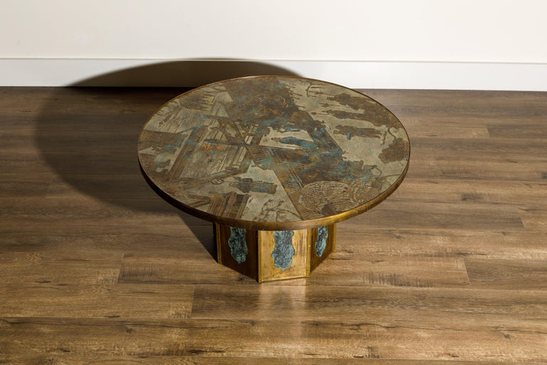'Chan' Bronze Cocktail Table by Philip & Kelvin LaVerne, 1960s, Double Signed In Good Condition For Sale In Los Angeles, CA