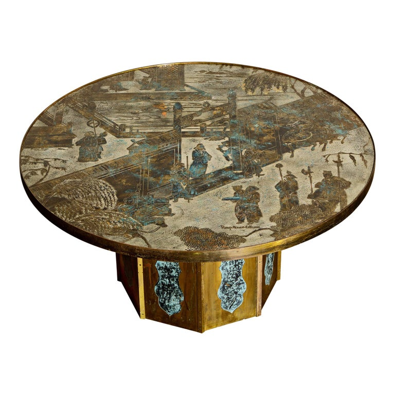 'Chan' Bronze Cocktail Table by Philip & Kelvin LaVerne, 1960s, Double Signed For Sale