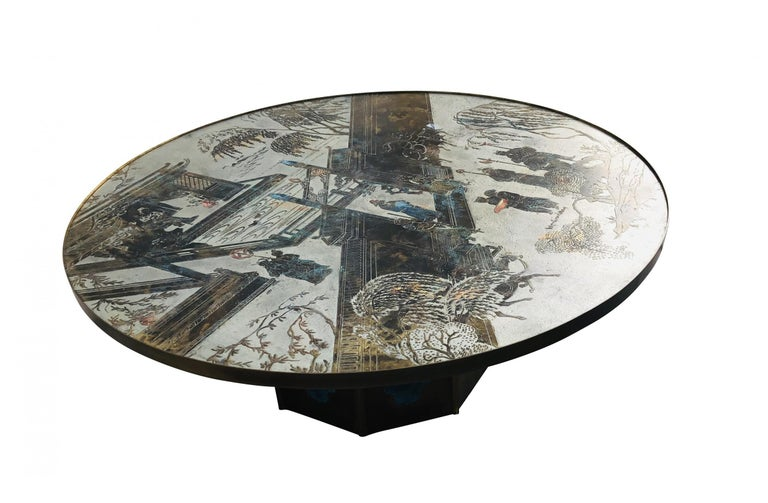 Chan coffee table by Philip and Kelvin LaVerne. Beautiful polychrome design over bronze with blue or green finish inset base.