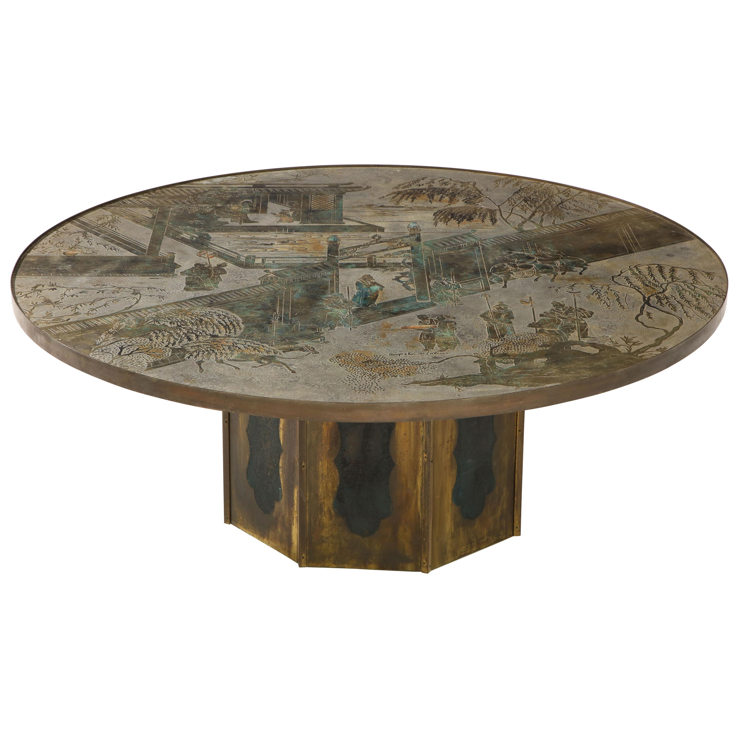 """""""Chan"""" Etched Bronze Table by Philip and Kelvin LaVerne with Papers"""