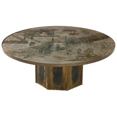 """Chan"" Etched Bronze Table by Philip and Kelvin LaVerne with Papers"