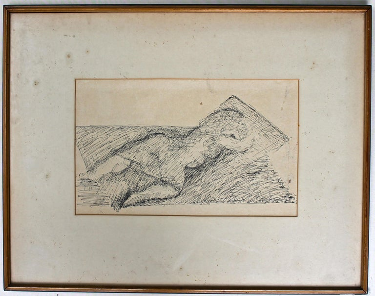 Chana Orloff 'Dancer' 1934 Pen and Ink Drawing For Sale 2