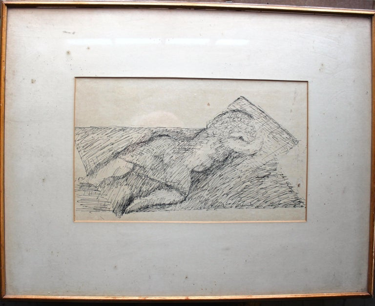 Pen and ink by the famous Modernist Art Deco Sculptor Chana Orloff (1888-1968) Signed lower right. Pucker Gallery Boston, labeled. Glazed and framed; 16x20.5