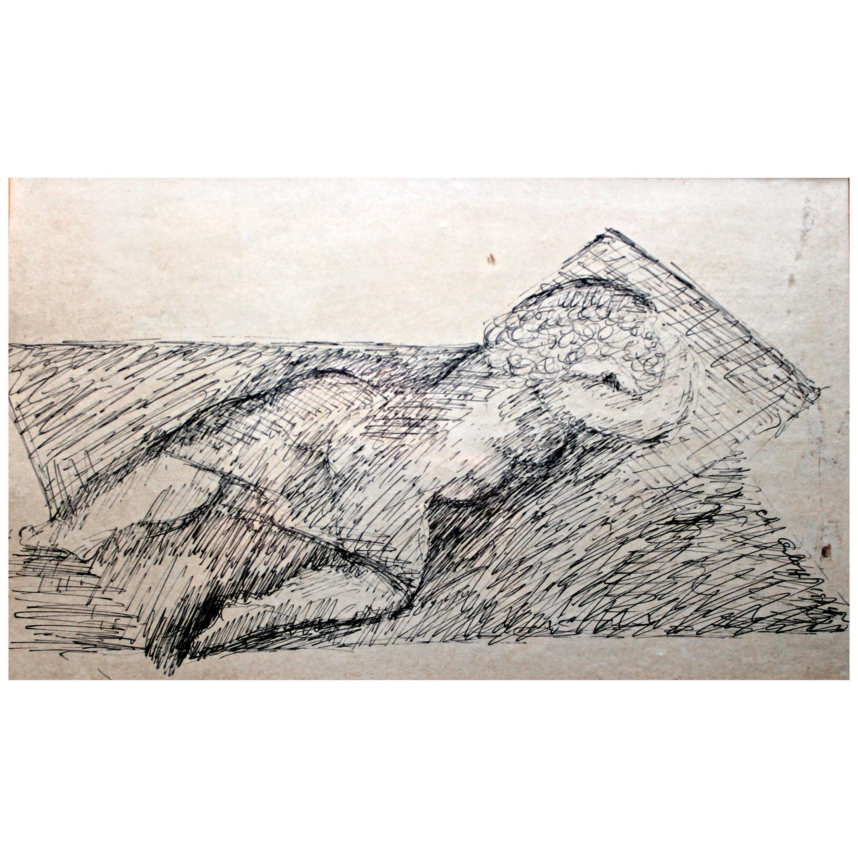 Chana Orloff 'Dancer' 1934 Pen and Ink Drawing