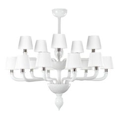 Chandelier 10+5 Arms White Encased Murano Glass White Lampshades by Multiforme
