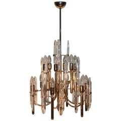 Chandelier 1960s Gold Brass by Gaetano Sciolari