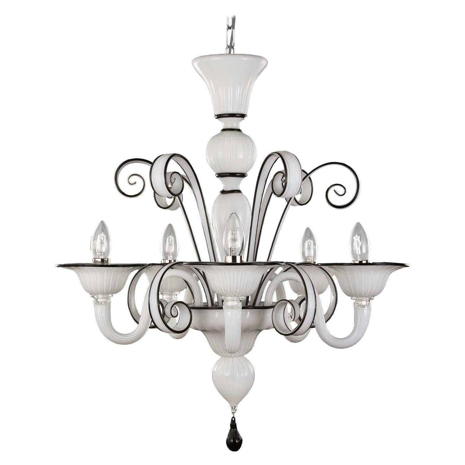 Chandelier 5 Arms White Blown Artistic Murano Glass, Black Details by Multiforme