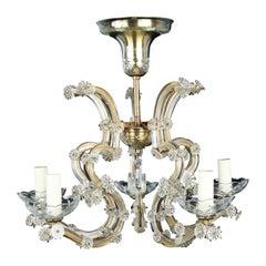 Chandelier, 6-Arm, Gilt-Brass, Glass, Edwardian Rococo Revival