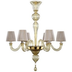 Chandelier 6 Arms Smoky Quartz Murano Glass, Lampshades Chapeau by Multiforme