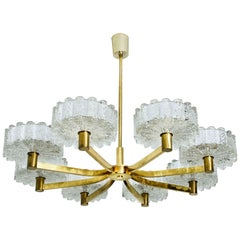 Chandelier 8 Icicle Glass Shades and Brass, in the Style of Kalmar, circa 1960s