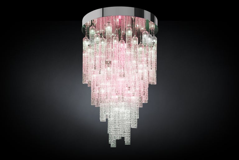Modern Chandelier Andy, Pipes in Blown Muranese Glass, Italy For Sale