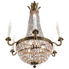 Chandelier, Antique French Empire Neoclassical Sack of Pearls with Crystals
