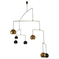 "Chandelier Brass and Black Spheres Large Mobile ""Magico E Meditativo"", Italy"