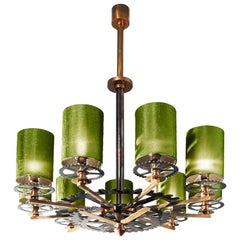 Chandelier Brass Burnished Green Italy