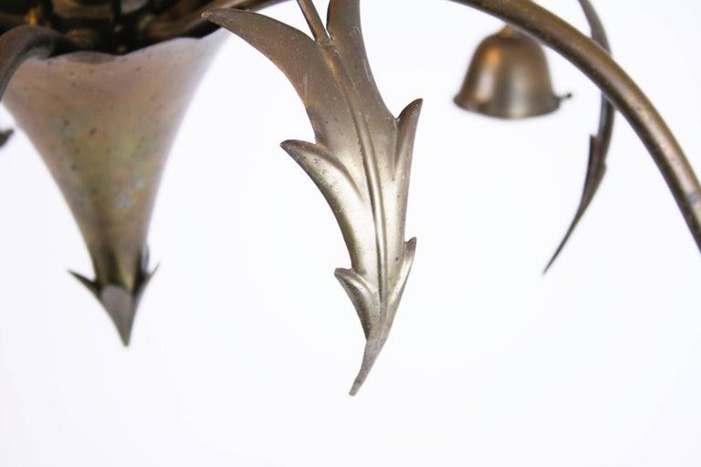 Chandelier Brass in the Manner of Dagobert Peche Wiener Werkstätte, Austria 1910 For Sale 2