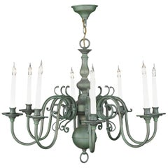 Chandelier Brass Painted Green 8-Arm Electrified Candle Lamp Baroque Dutch