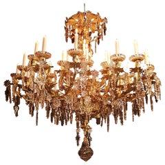 Chandelier Bronze Dore Louis XV Rocaille 36 Lights Baccarat Crystals