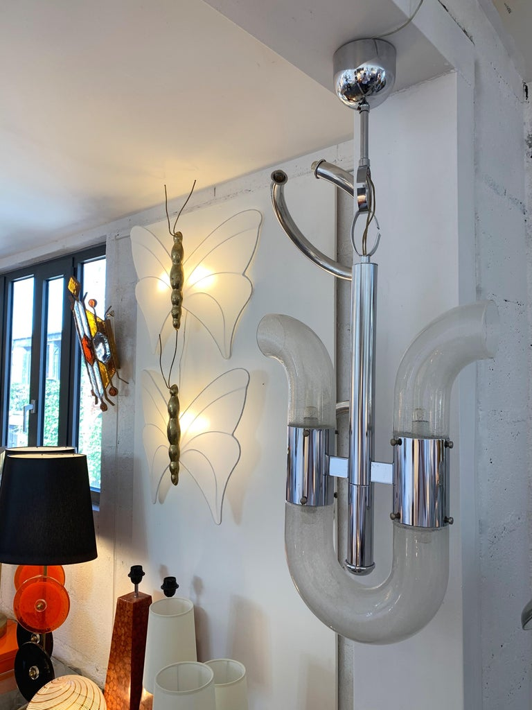 Metal Chandelier by Aldo Nason for Mazzega Murano, Italy, 1970s For Sale