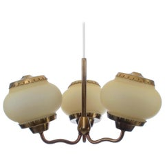 Chandelier by Bent Karlby Lyfa 1940s Beautiful Danish Modern Brass and Opal Lamp