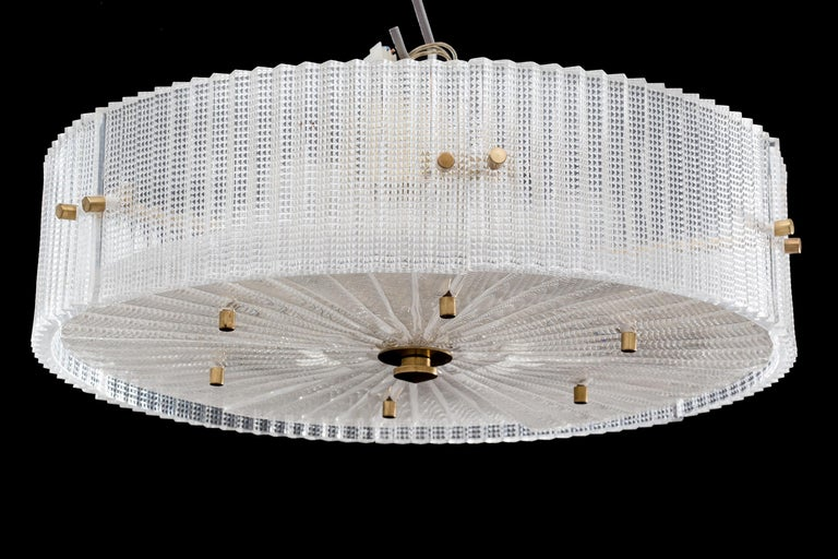 A chandelier designed by Carl Fagerlund for Orrefors, Sweden, circa 1960.