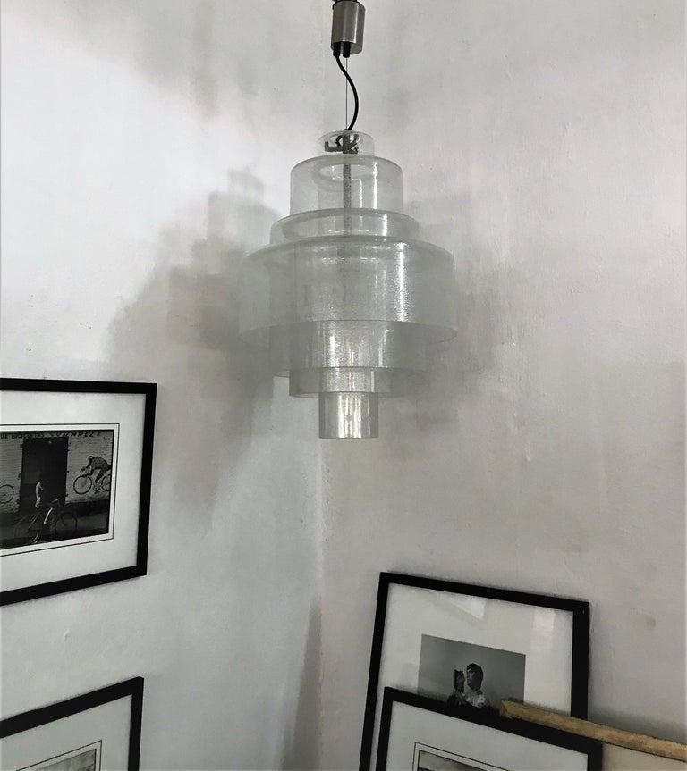 Blown Glass Chandelier by Carlo Nason for Mazzega in Murano Pulegoso Glass, circa 1960 For Sale