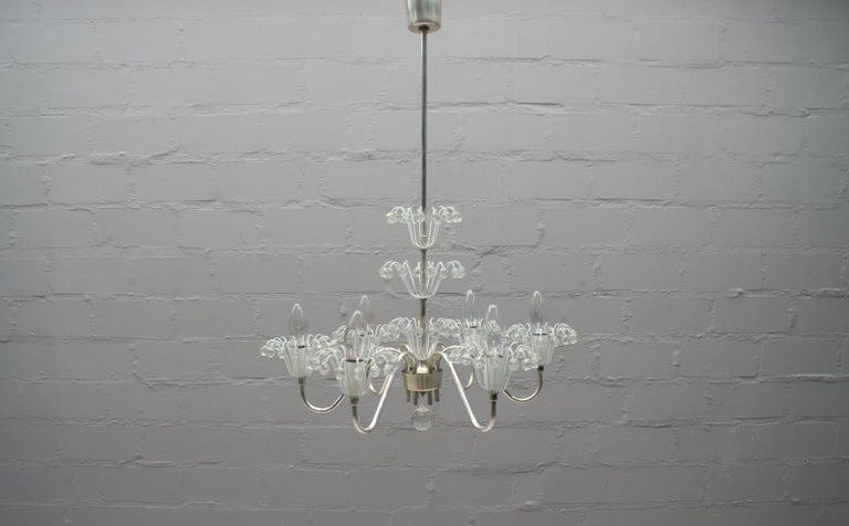 Chandelier designed by Emil Stejnar and manufactured from Rupert Nikoll, Vienna, Austria, 1950s.