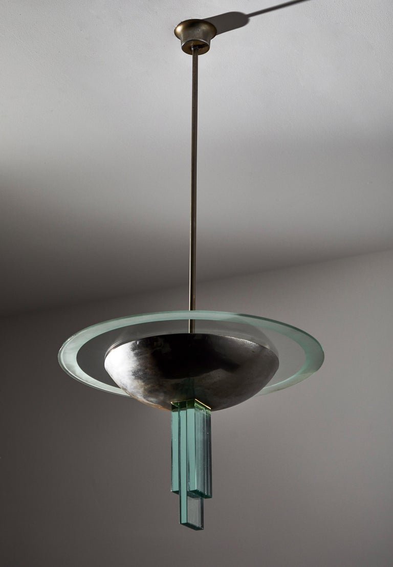 Chandelier Attributed to Pietro Chiesa for Fontana Arte In Good Condition For Sale In Los Angeles, CA